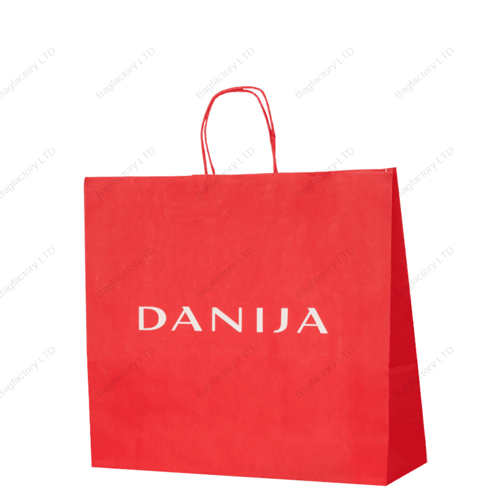 White Twisted Handle Paper Bags for clothing and footwear sector produced in Europe.