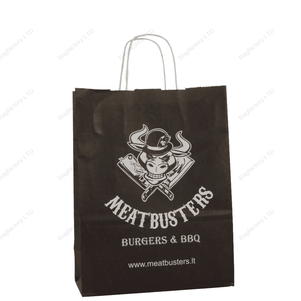 White Twisted Handle Paper Bags in size: 25 cm width x 12 cm depth x 31 cm height. Produced in Baltic States.