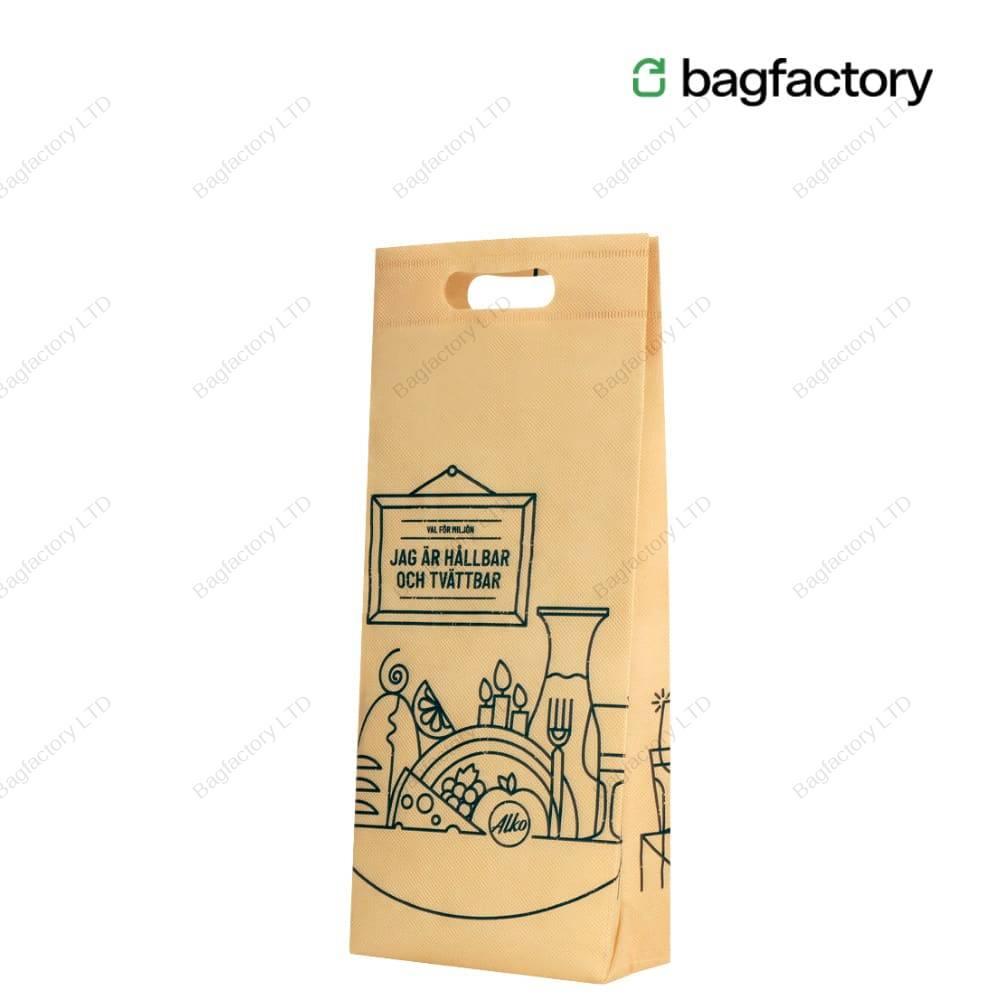 Jednobutelkowa torba z klinem z włókniny z dziurkowanym uchwytem w rozmiarze: 18.5 cm x 8 cm x 41 cm