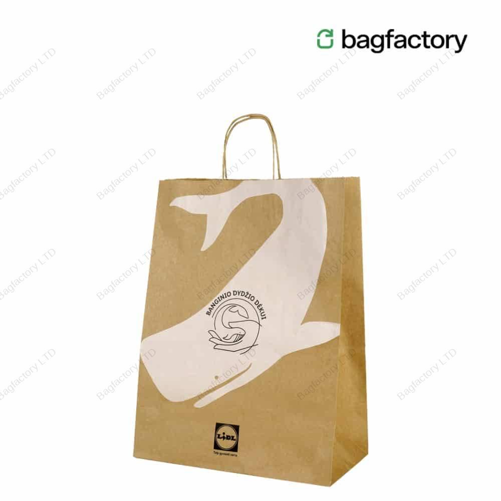 Torba papierowa z uchwytem skręcanym w rozmiarze: 32 cm szerokość x 17 cm głębokość x 41 cm wysokość