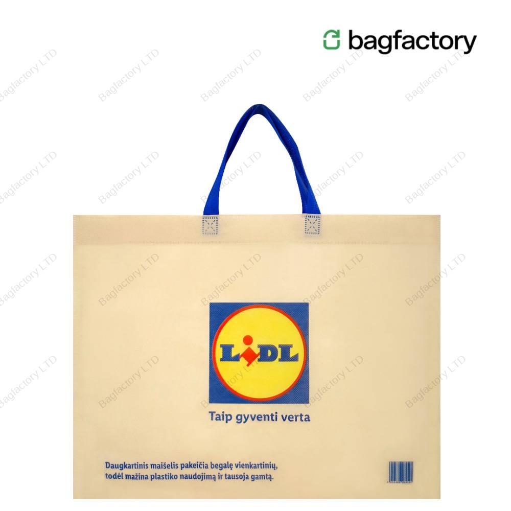 ECO-CENT torba włókninowa wielokrotnego użytku, która całkowicie zastępuje jednorazową torbę plastikową o wymiarach: 50 cm szerokość x 40 cm wysokość x 15 cm klin dolny z krótkimi uchwytami