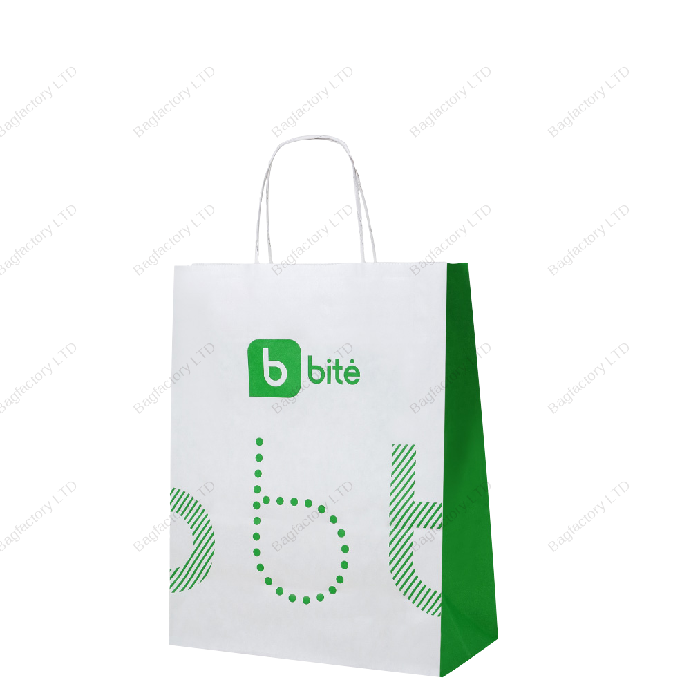 White Twisted Handle Paper Bags in size: 25 cm width x 12 cm depth x 31 cm height produced in Baltic States.