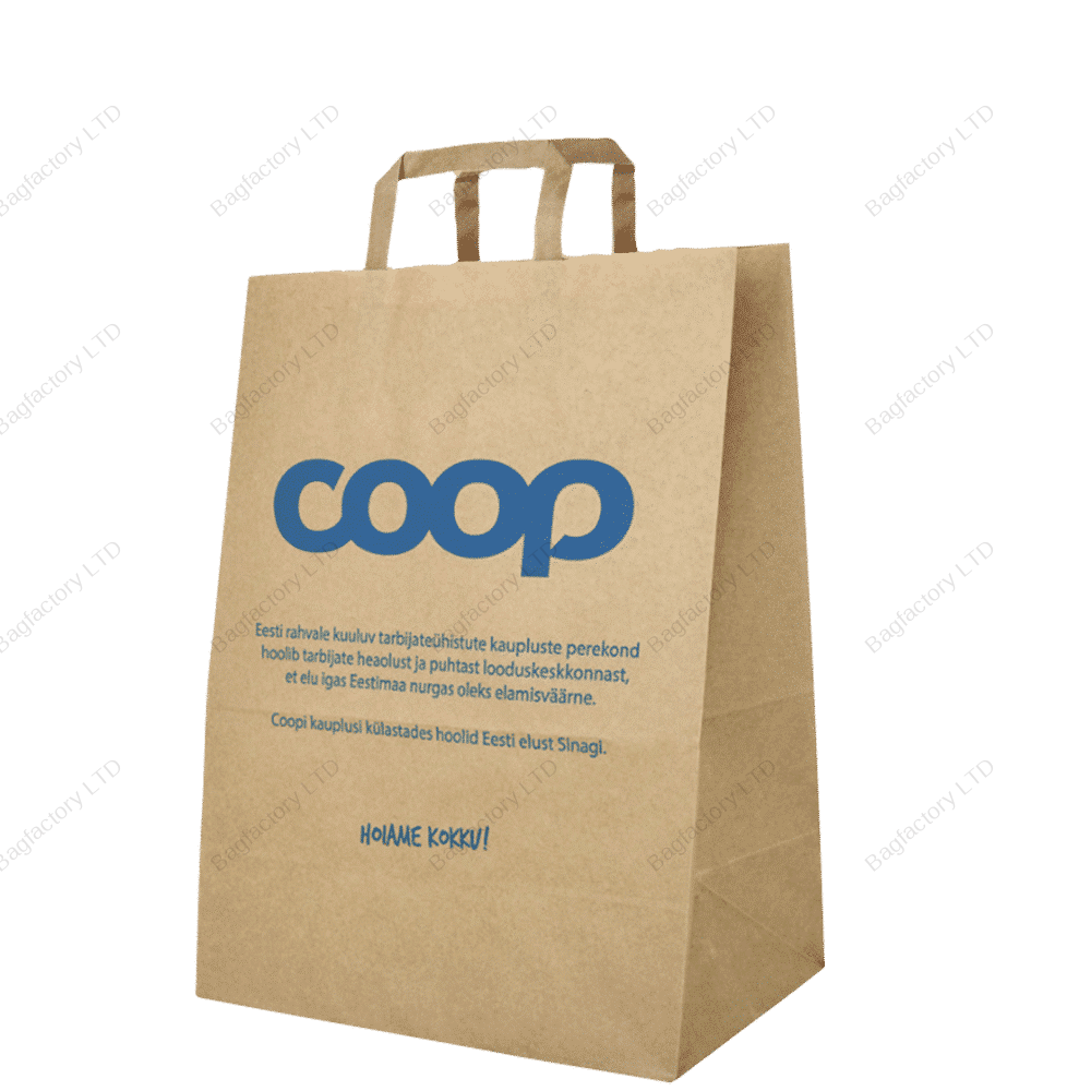 Brown Paper Carrier Bags with Internal Flat Handle in size: 32 cm width x 17 cm depth x 41 cm height made in Europe