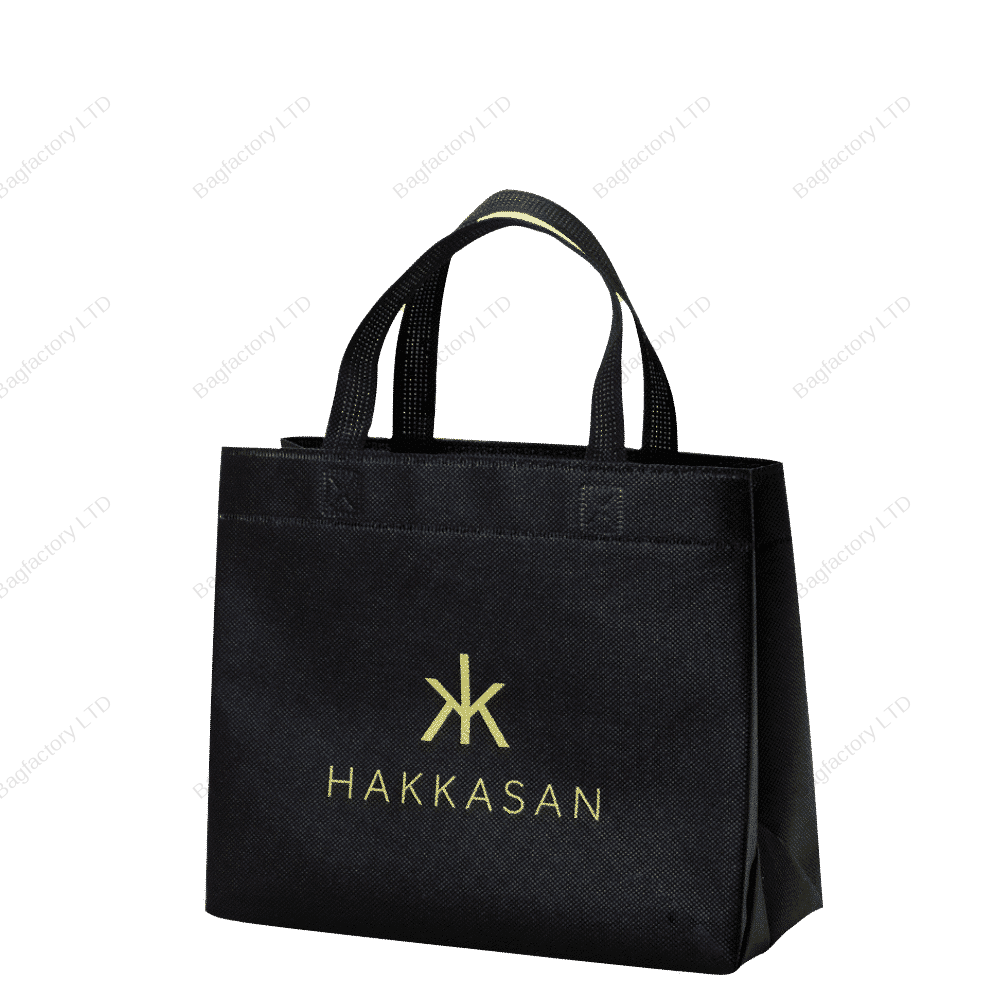 Take-out food reusable non-woven bag in size: 30 cm width x 16 cm depth x 25 cm height with short handles and made in europe.