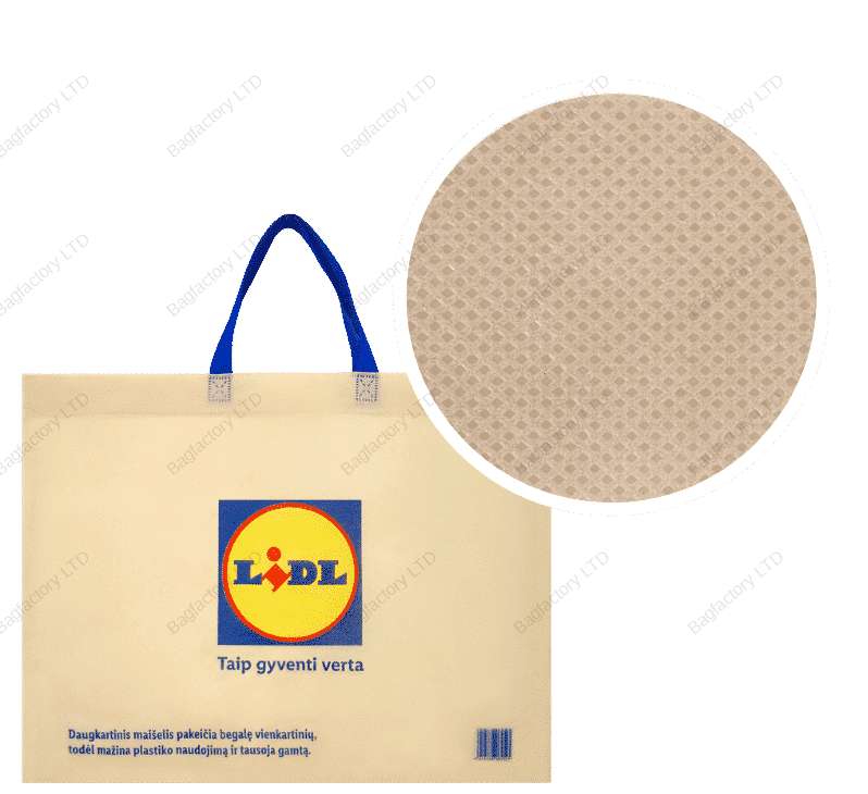 ECO-CENT reusable non-woven bag which totally replaces single use plastic bag in size: 50 cm width x 40 cm height x 15 cm bottom gusset with short handles