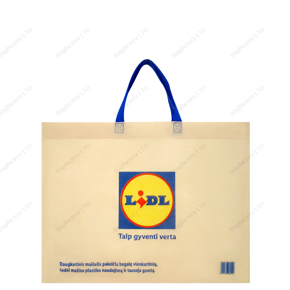 ECO-CENT reusable non-woven bag which totally replaces single use plastic bag in size: 50 cm width x 40 cm height x 15 cm bottom gusset with short handles and made in europe.
