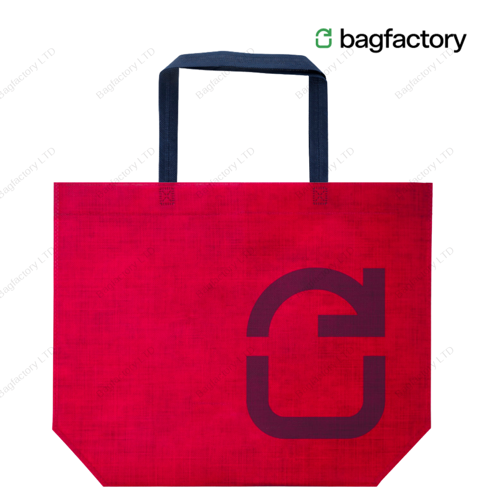 VALUE-CENT reusable non-woven bag which totally replaces single use plastic bag in size: 50 cm width x 40 cm height x 15 cm bottom gusset with long handles