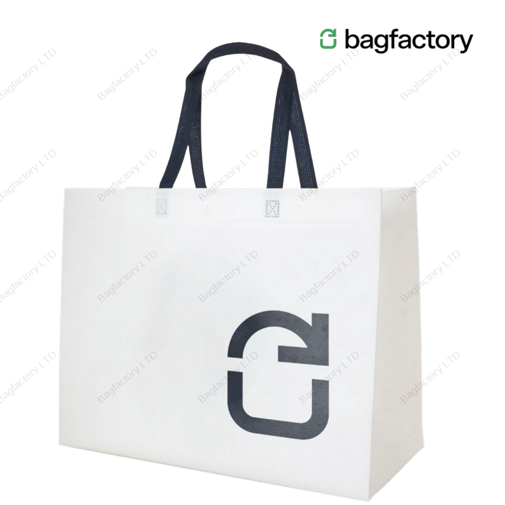XXL oversized heavy duty non-woven bag in size: 49cm width x 22 cm depth x 39 cm height with long handles